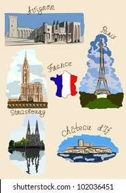 Sights of France drawn in watercolors style.