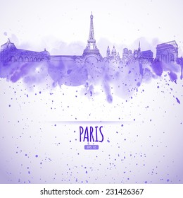 sights of Paris in the style of the sketch and watercolor
