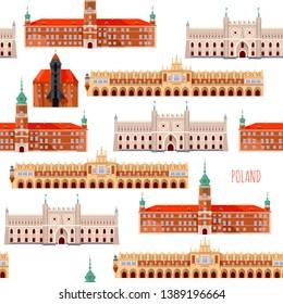 Sights of Poland. Krakow, Cloth Hall, Lublin, Castle, Gdansk, Crane, Warsaw, Royal Castle.  Seamless background pattern. Vector illustration.