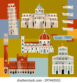 Sights of Tuscany. Florence, Lucca, Pisa, Siena, Italy, Europe. Vector illustration