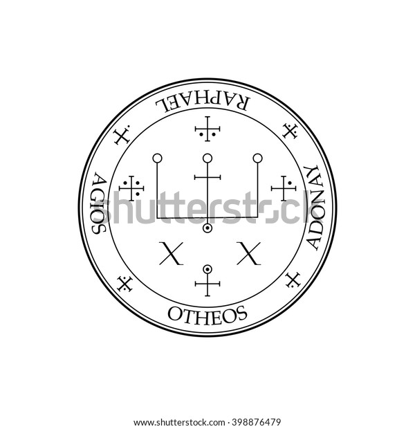 Sigil Archangel Raphael Magical Amulets King Stock Vector (Royalty