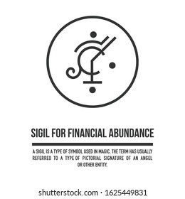 Sigil for financial abundance. A stylized image of a magic symbol. Can be used in graphic design or tattoo as well as logo. Stock vector.
