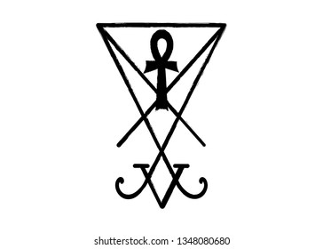 A sigil of Lucifer. Grunge styled distressed demonology and The ankh egyptian cross. Lucifer sigil isolated. Satan Devil Lucifer sigil with reversed pentagram. Vector isolated