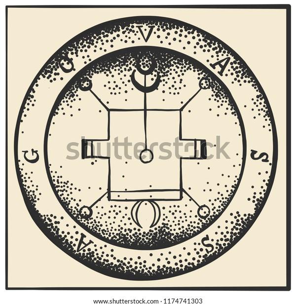 Sigils Archangels Magical Amulets King Solomons Stock Vector