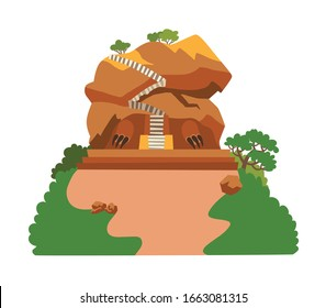 Sigiriya rock vector illustration. Fantastic mountain kingdom with stairs to the top. Rock mountain Sri Lanka landmark cartoon style. Asian forest landscape. Isolated drawing icon on white background