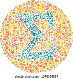 Sigma Eye Test  - Part of my Greek collection of eye test designs. The Letter Sigma cunningly hid inside an Ishihara inspired design.