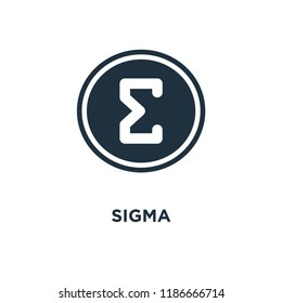 Sigma icon. Black filled vector illustration. Sigma symbol on white background. Can be used in web and mobile.