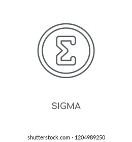Sigma linear icon. Sigma concept stroke symbol design. Thin graphic elements vector illustration, outline pattern on a white background, eps 10.
