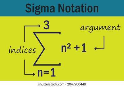 sigma summation notation in french,vector illustration