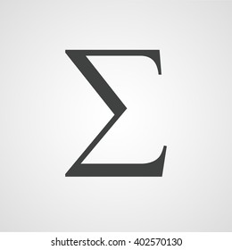 Sigma symbol, latin letter sign vector