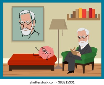 Sigmund Freud Cartoon - Freud is sitting on his green couch, analyzing a brain with glasses. Eps10