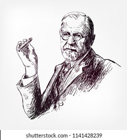 sigmund freud vector sketch illustration portrait face