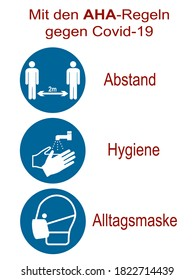 """Sign with the AHA rule. German text: """"With the AHA rules (distance, hygiene, everyday mask) against Covid-19."""" Vector file"""