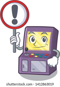 With sign arcade machine isolated with the character
