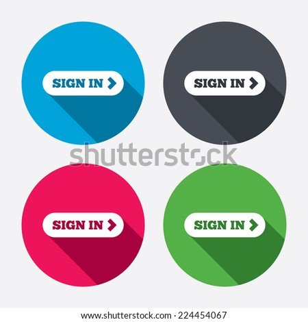 Sign Arrow Sign Icon Login Symbol Stock Vector (Royalty Free