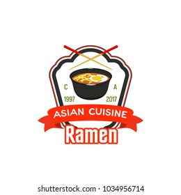 Sign for asian cafe or restaurant. Ramen symbol for chinese cuisine restaurant. Cook icon design for bistro. Symbol of asia fast food can be used as part of advertisement