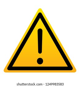 Sign attention. Danger, warning, hazard symbol. Isolated yellow triangle with exclamation sign on white background. Vector illustration.