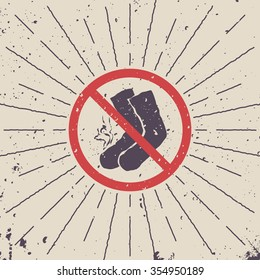 Sign ban. Smelly socks icon with burst. Vector illustration.