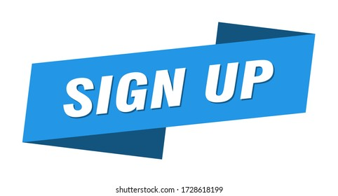 sign up banner template. sign up ribbon label sign