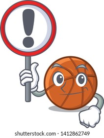 With sign basket ball in the character shape