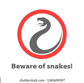 sign beware of snakes. image of a snake in a red circle.