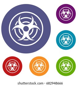 Sign of biological threat icons set in flat circle red, blue and green color for web