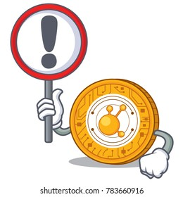 With sign BitConnect coin character cartoon