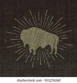 sign of bizon .Print design on textile.Vector symbol