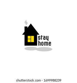 sign black house vector stay home