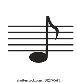 sign black music note on white background