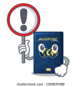 With sign blue passport in the cartoon form
