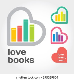 Sign with books and hearts about love to read. Modern flat vector illustration with place for text. Layered file