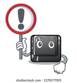 With sign button D on a computer mascot