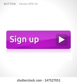 Sign up button template | vector design eps | business banner with symbol icon | website element | web purple