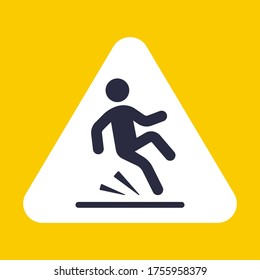 The sign can be slipped carefully. the fall of man. flat vector illustration.