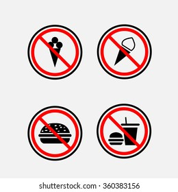 a sign can not eat and drink, round sign