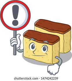 With sign castella cake isolated in the cartoon