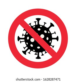 Sign caution coronavirus. Stop coronavirus. Coronavirus outbreak. Coronavirus danger and public health risk disease and flu outbreak.  Pandemic medical concept with dangerous cells.Vector illustration