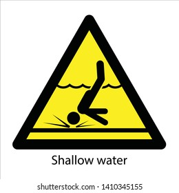 Sign Caution Shallow Water Vector Ilustration