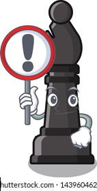 With sign chess bishop isolated with the cartoon