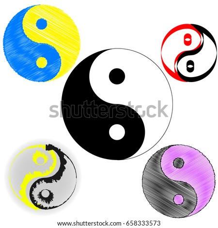 Sign Chinese Philosophy Symbol Confucianism Icons Stock Vector