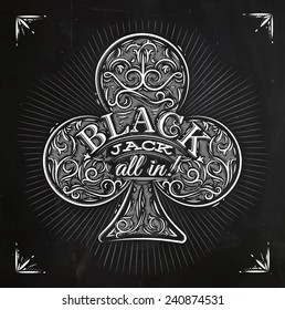 Sign clubs in vintage style lettering black jack all in drawing with chalk on the blackboard