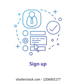 Sign up concept icon. Create account idea thin line illustration. User profile page. Registration, authorization. Vector isolated outline drawing