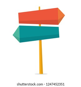 Sign concept. Road sign on street and direction choice. Message on board. Isolated flat vector illustration