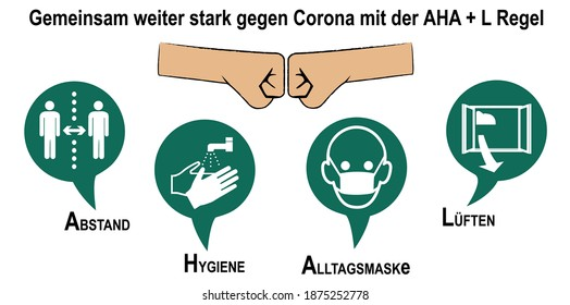 """Sign for Corona rules with German text: """"Together we continue strong against Corona with the AHA + L rule"""". (Distance, hygiene, everyday mask, ventilate) vector"""