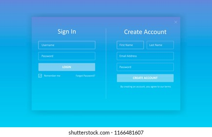 Sign In and Create account Forms. Modern UI design for app or web-site development. Vector illustration