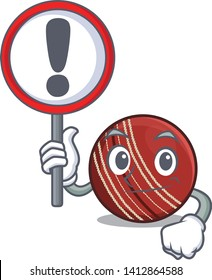 With sign cricket ball in a mascot basket