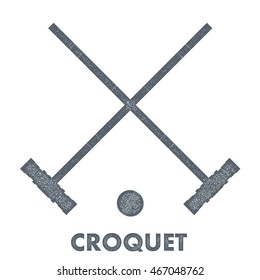 Sign croquet. Vintage style. Retro image objects croquet with texture on a white background. 