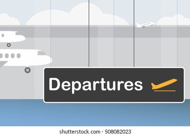 Sign DEPARTURES at the airport with planes behind