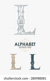 Sign design element. Vector illustration. Abstract ornate curly calligraphic letter of the alphabet - L
